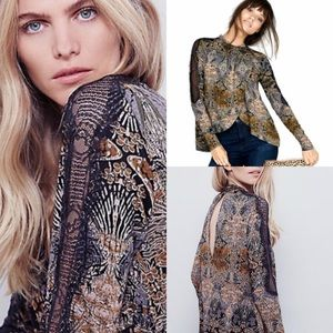 Free People New World Nouveau Draped Front Blouse
